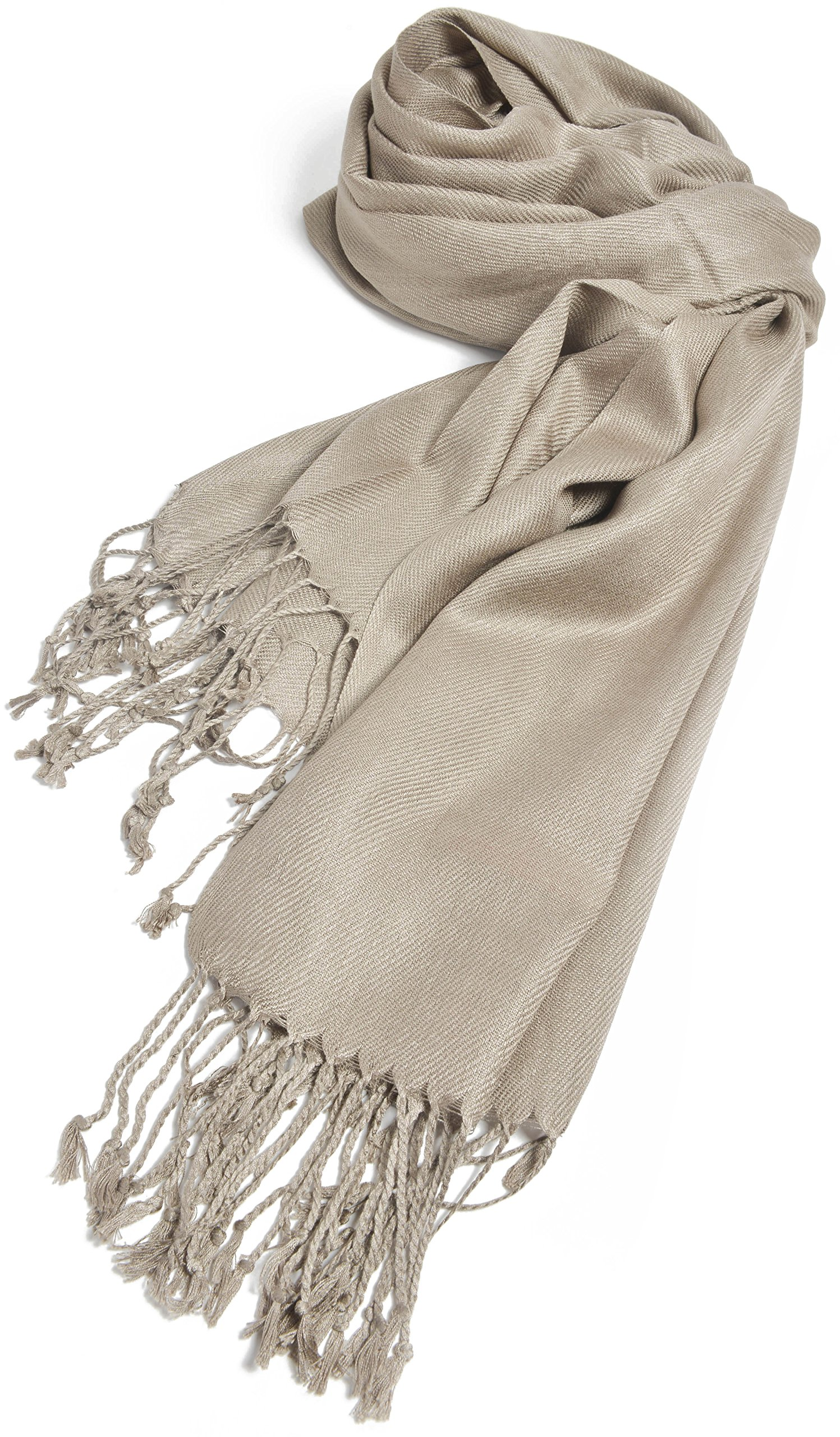 Premium Large Soft Silky Pashmina Shawl Wrap Scarf in Solid Colors (Taupe)