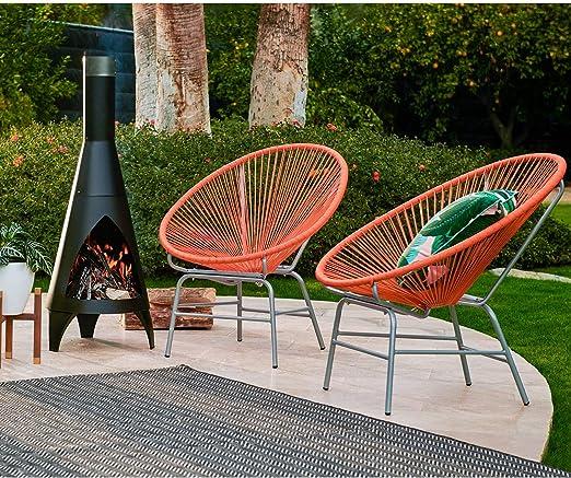 Juego de 2 sillas de Verano Acapulco de Color Naranja para Patio ...
