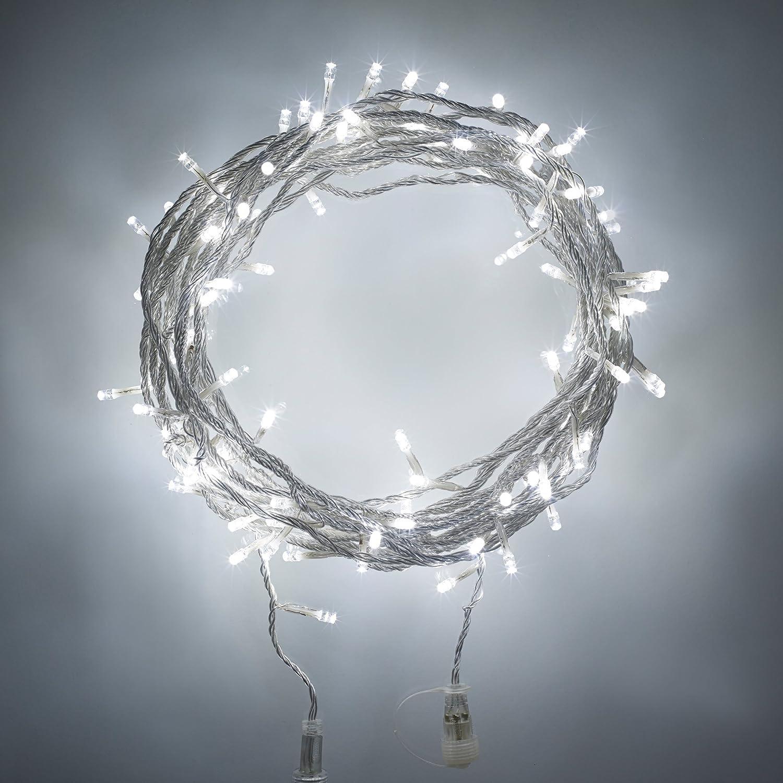 Lights4fun Catena di Luci Prolungabile Tipo U a Pile D con 600 LED Bianco Freddo su Cavo Trasparente per Interni ed Esterni