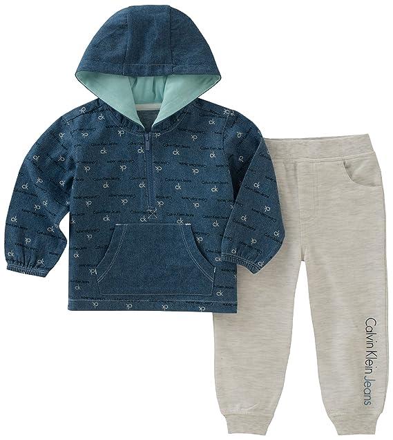 187d55680752 Calvin Klein Baby-Boys Baby Boys 2 Pieces Pullover Pant Set  Amazon ...