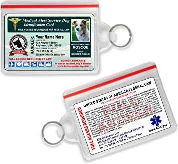 Medical Alert Service Dog Card {Custom with Your Dogs Photo & INFO} Free Zip-Lock Pouch Included