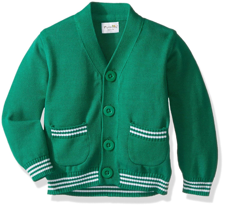 Funkoos Boys' Organic Preppy Cardigan (Green) B00GW8NC5O
