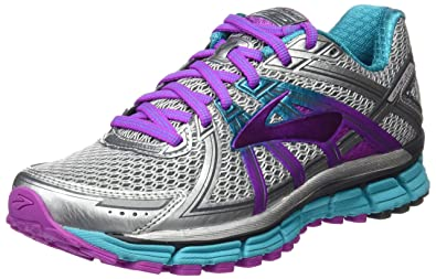 664e36a05ca Brooks Women s Adrenaline GTS 17 Silver Purple Cactus Flower Bluebird 5.5  ...
