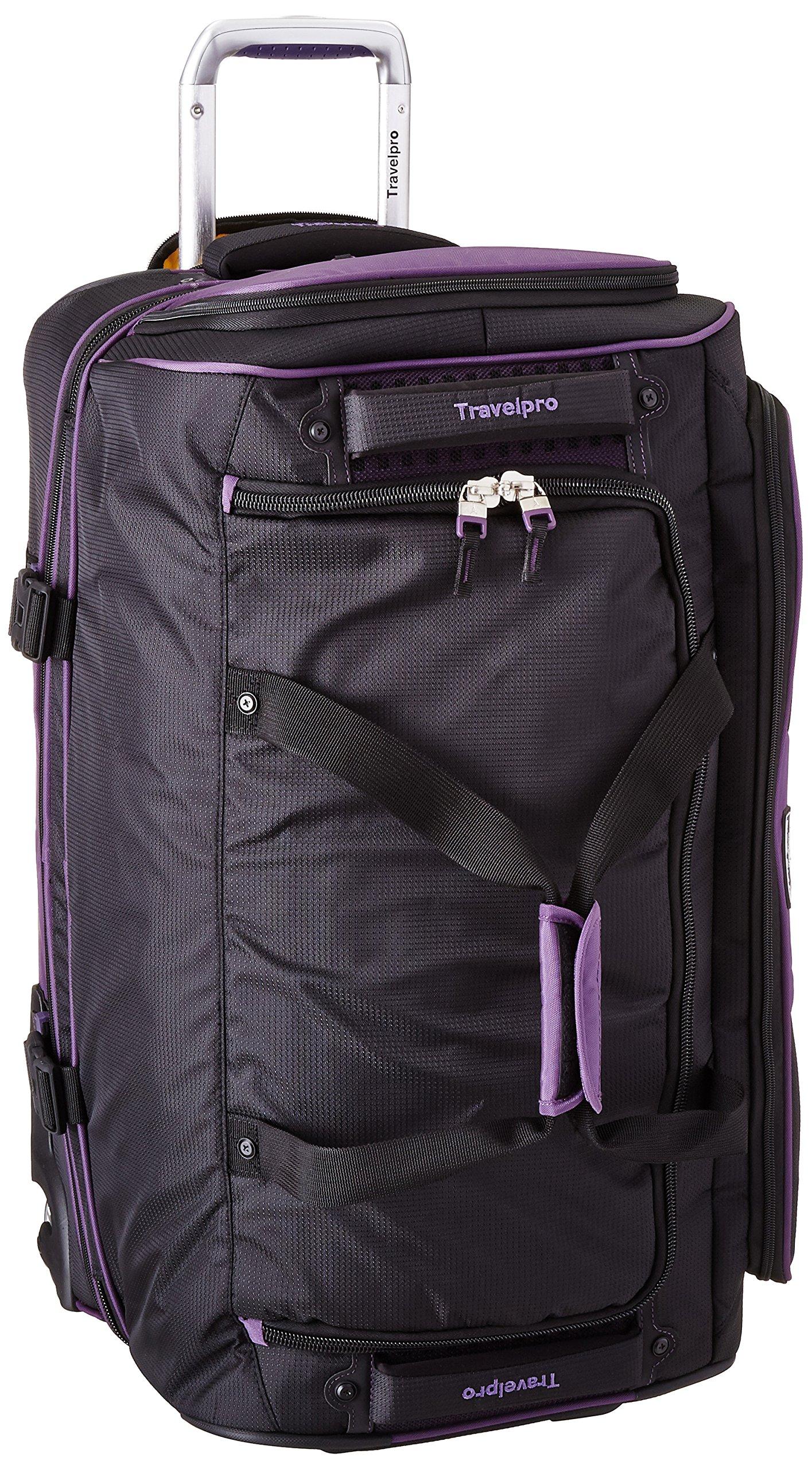 Travelpro Tpro Bold 2.0 26 Inch Drop Bottom Rolling Duffel, Black/Purple, One Size