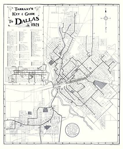 Old Dallas Map.Amazon Com Old City Map Dallas Texas Key And Guide Tarrant 1921