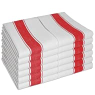 Dish Towels Pack of 12 by SMARTZ; Large size 70x50 centimetre; 100 percent Cotton with Hanging Loop; White with Red Stripes; Strong Quality Retro Style for Heavy Duty Cleaning and Drying