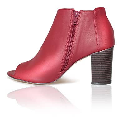 Red Burgundy Patent Leather Ankle Boots  Open Toe  Stacked Heels  Zipper Closure