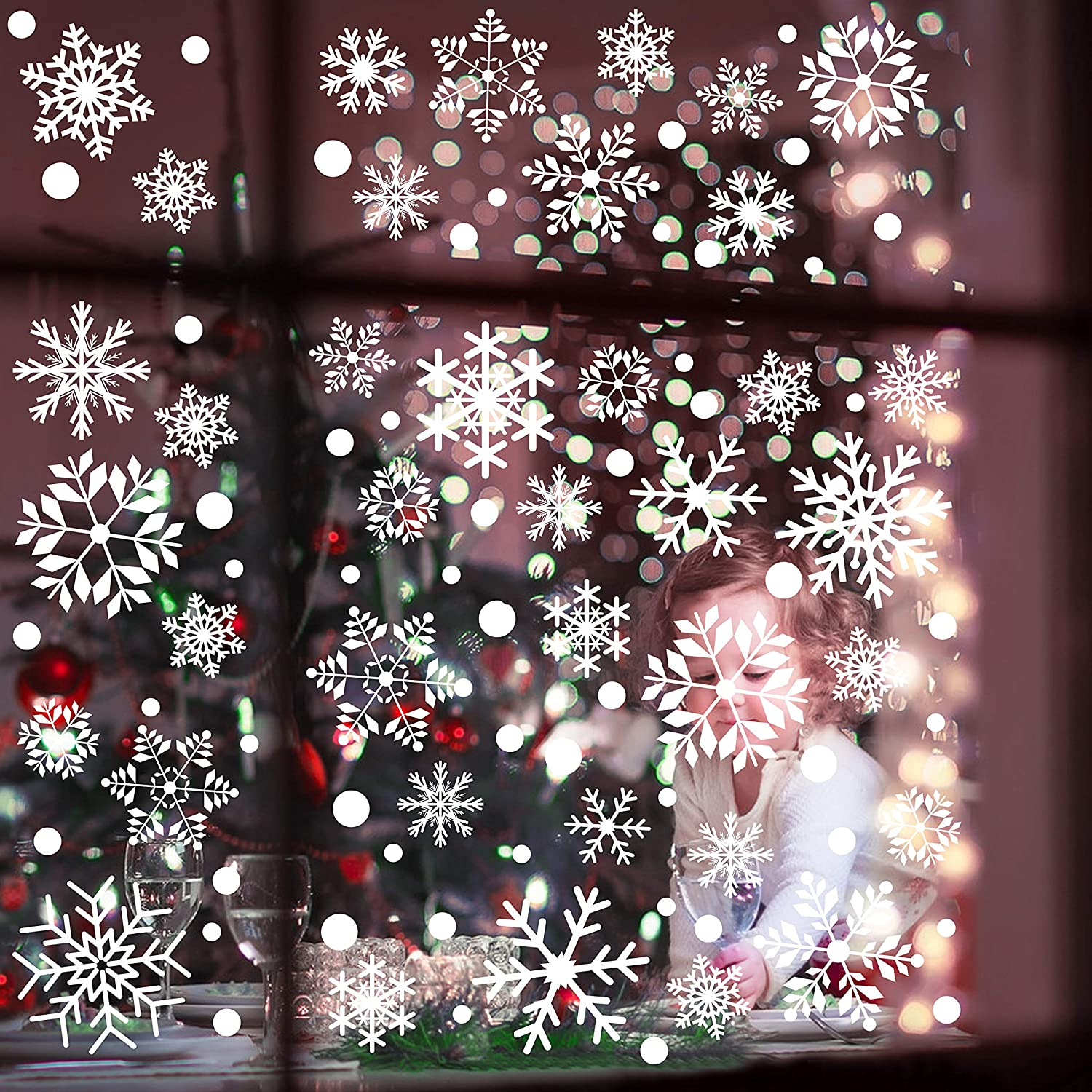 Christmas Decorations Snowflake Decorations Window Decals Christmas Ornaments Stickers for Winter Wonderland Birthday Party Supplies Winter Decorations Holiday Party Supplies