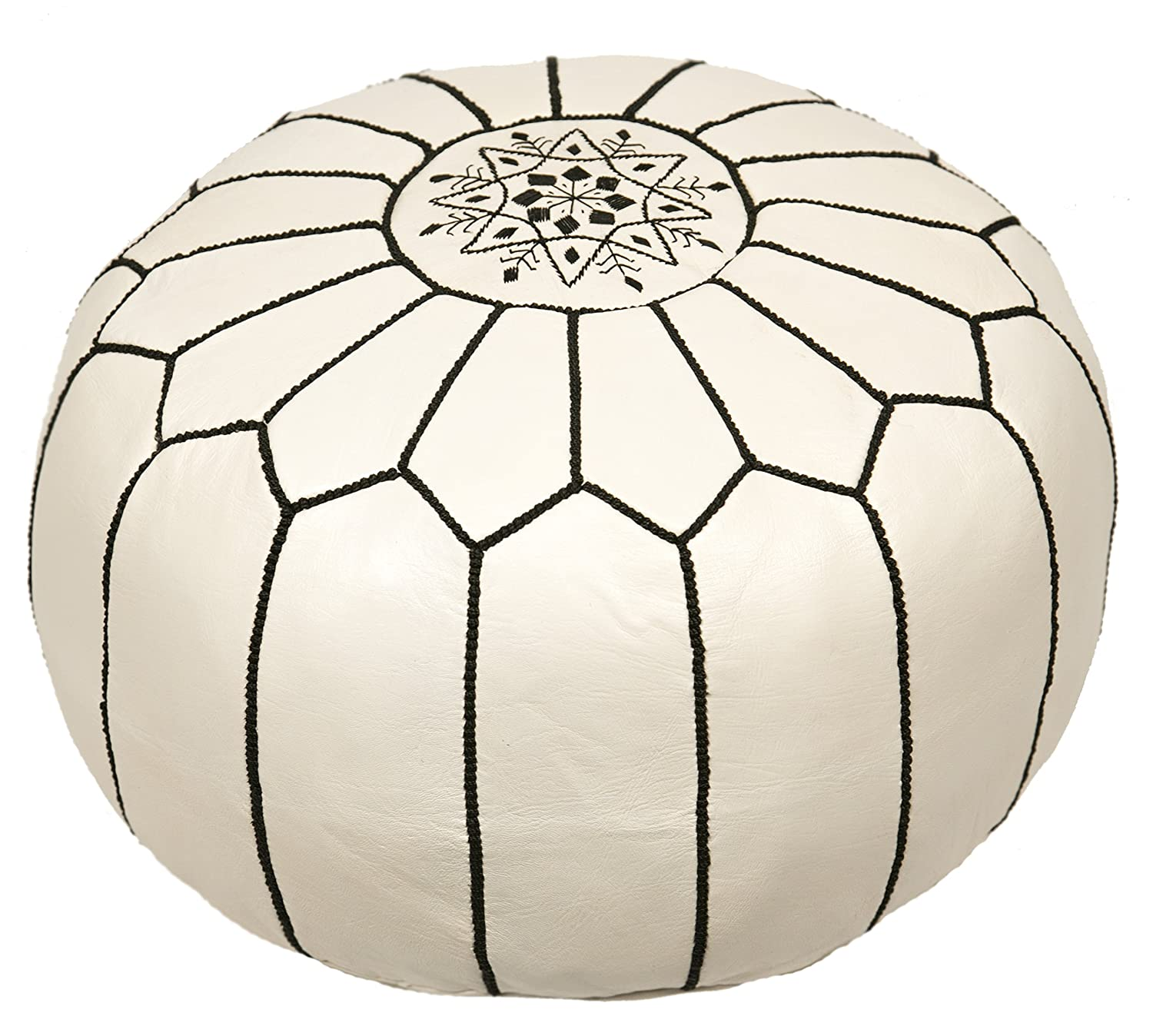 Embroidered Pouf Leather