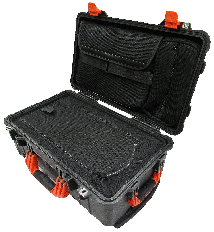 "Pelican ""Colors"" series - Black & Orange Pelican 1510LOC Case. Computer lid pouch & Luggage bottom."