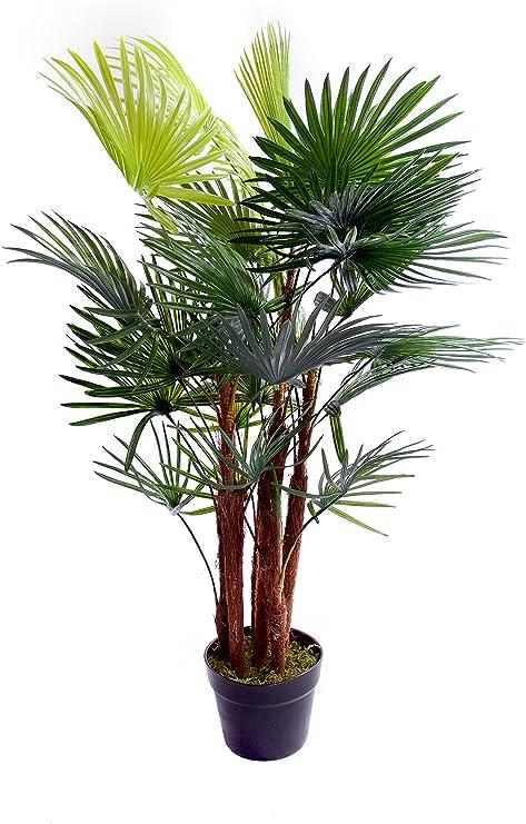 Palmera artificial tropical, areca, ideal para oficina, invernadero, jardín interior o exterior, 120 cm, 91,4 cm: Amazon.es: Jardín