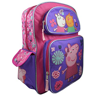 on sale Peppa Pig Girls Large Deluxe 16 Backpack w/ Stamping Bookbag