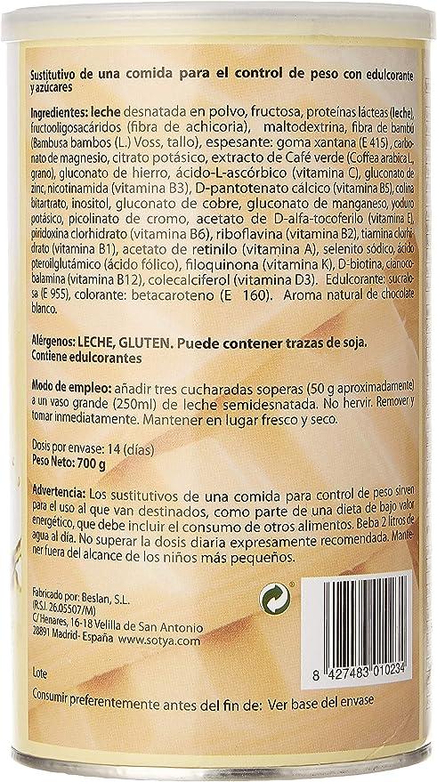 SOTYA Batido Sabor Chocolate Blanco 700 gr: Amazon.es: Salud y ...