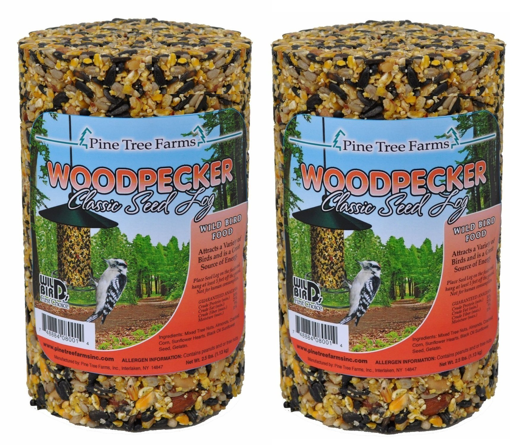 Pine Tree Farm Woodpecker Classic Seed Log, 40-Ounce (Pack of 2) by Pine Tree Farms