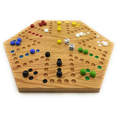 Solid Oak Double Sided Aggravation Marble Board Game Hand Painted 16 inch by Cauff: Toys & Games