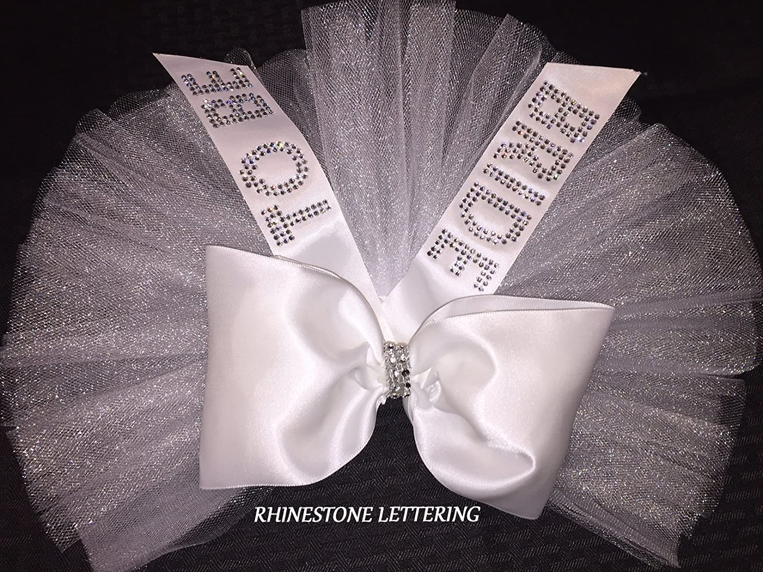Bride's Booty Veil with RHINESTONES by SashANation with the words BRIDE TO BE in BRILLIANT RHINESTONES. Bride's Booty TuTu Veil