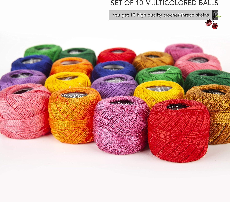 10 piezas de algod/ón rosa mercerizado ganchillo hilo de tejer Tatting Hilados Madejas Artesan/ía