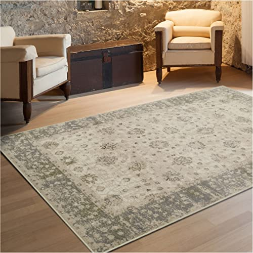 Superior Conventry Collection Area Rug, 8mm Pile Height with Jute Backing, Vintage Distressed Oriental Rug Design, Fashionable and Affordable Woven Rugs – 8 x 10 Rug
