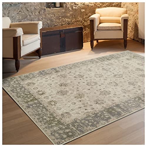 Superior Conventry Collection Area Rug, 8mm Pile Height with Jute Backing, Vintage Distressed Oriental Rug Design, Fashionable and Affordable Woven Rugs – 5 x 8 Rug