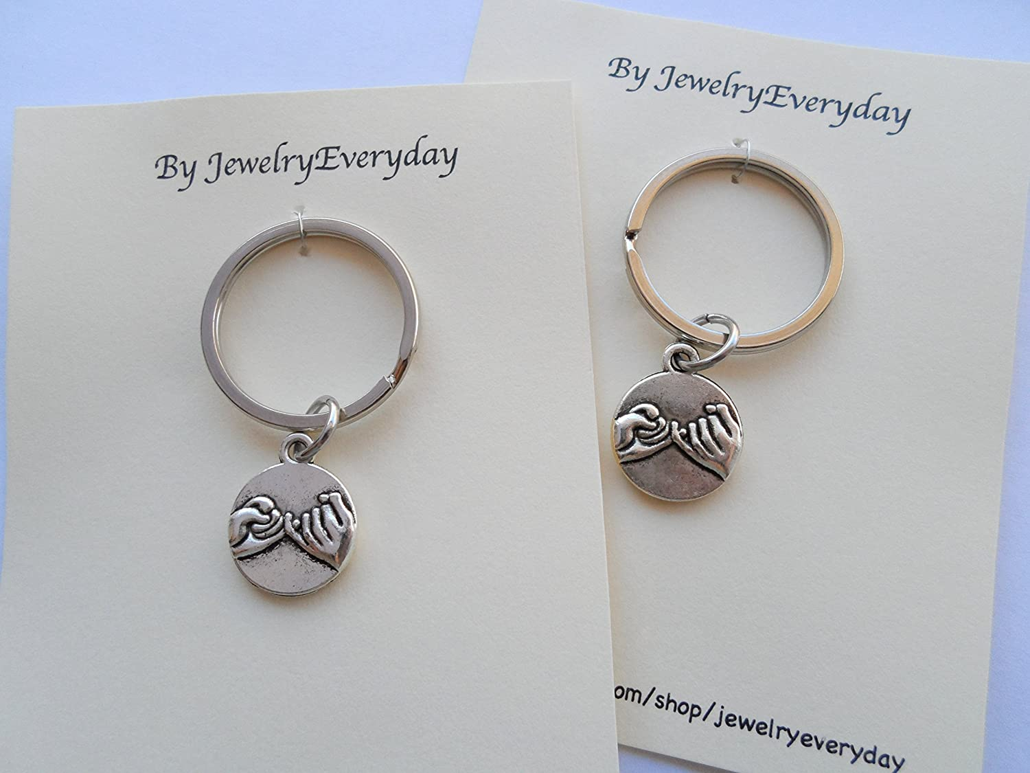 JewelryEveryday Double Pinky Promise Charm Keychains; Couple Keychains Promise Gift