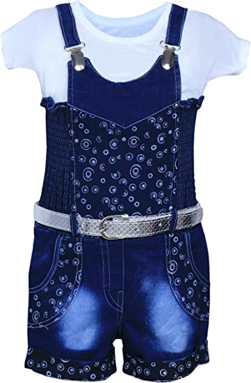 MPC Cute Fashion Baby Girl's Infant Jeans Dungaree Jumpsuit for Baby Girls at amazon