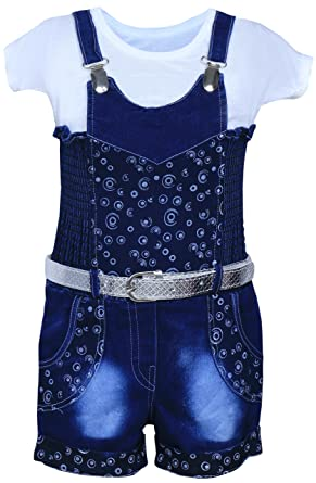 5339d2ebba46 MPC Cute Fashion Baby Girl s Infant Jeans Dungaree Jumpsuit (Blue ...