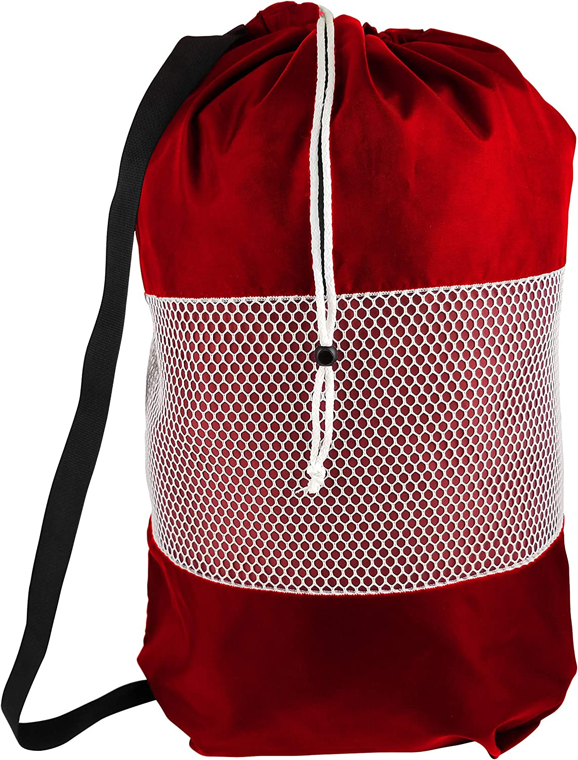 B&C Nylon Mesh Perfect College Laundry Bag with Reliable Shoulder Strap-28 X34-100% Nylon, for Heavy Duty Use, College Laundry Bags, Laundromat and Household Storage, Machine Washable (Red)