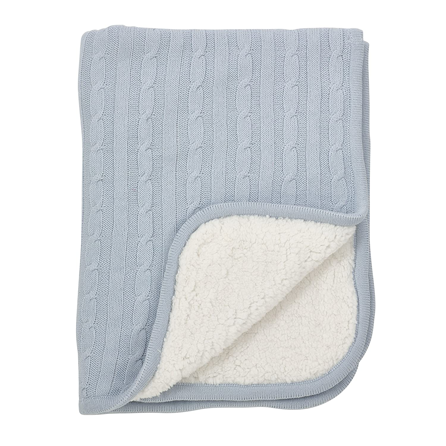 b08c6763b Fennco Styles Classic Cable Knit Sherpa Reversible Baby Blanket 3 Colors  (Blue): Amazon.co.uk: Kitchen & Home