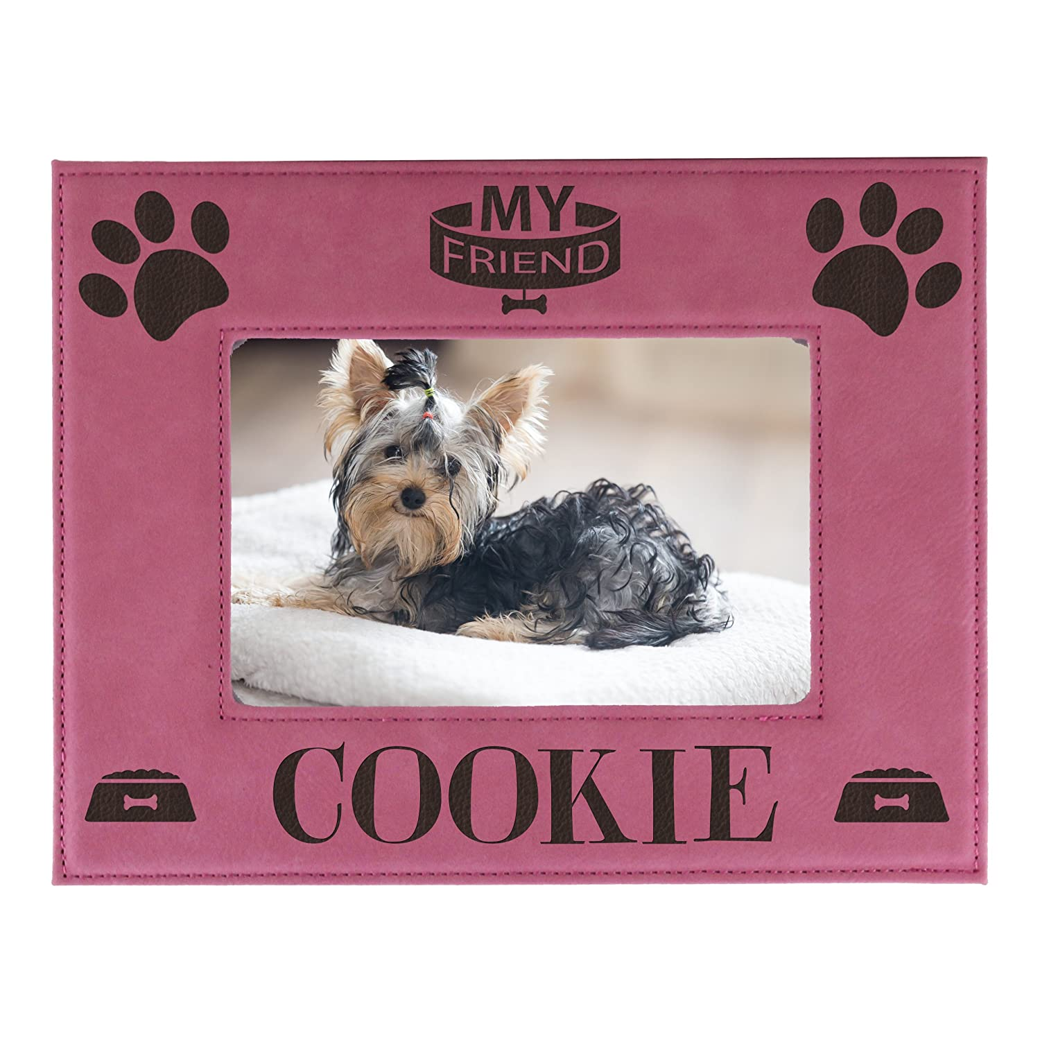 77b1c70cab4e Amazon.com - Personalized Pet Picture Frame - Engraved Dog Cat Photo Gift  Frames - Custom Monogrammed for Free (4 x 6) -