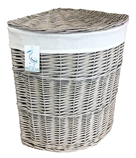 Merveilleux Medium Grey Wicker Corner Linen Laundry Basket With Removable Lining.  Storage Curved Distressed Grey Willow