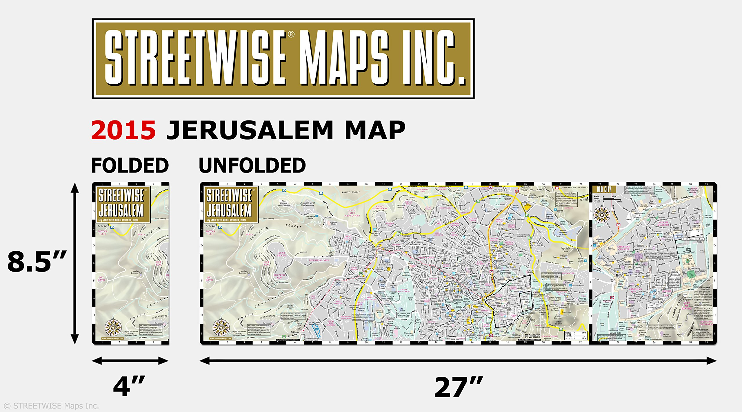 Streetwise Jerusalem Map  Laminated City Center Street Map of