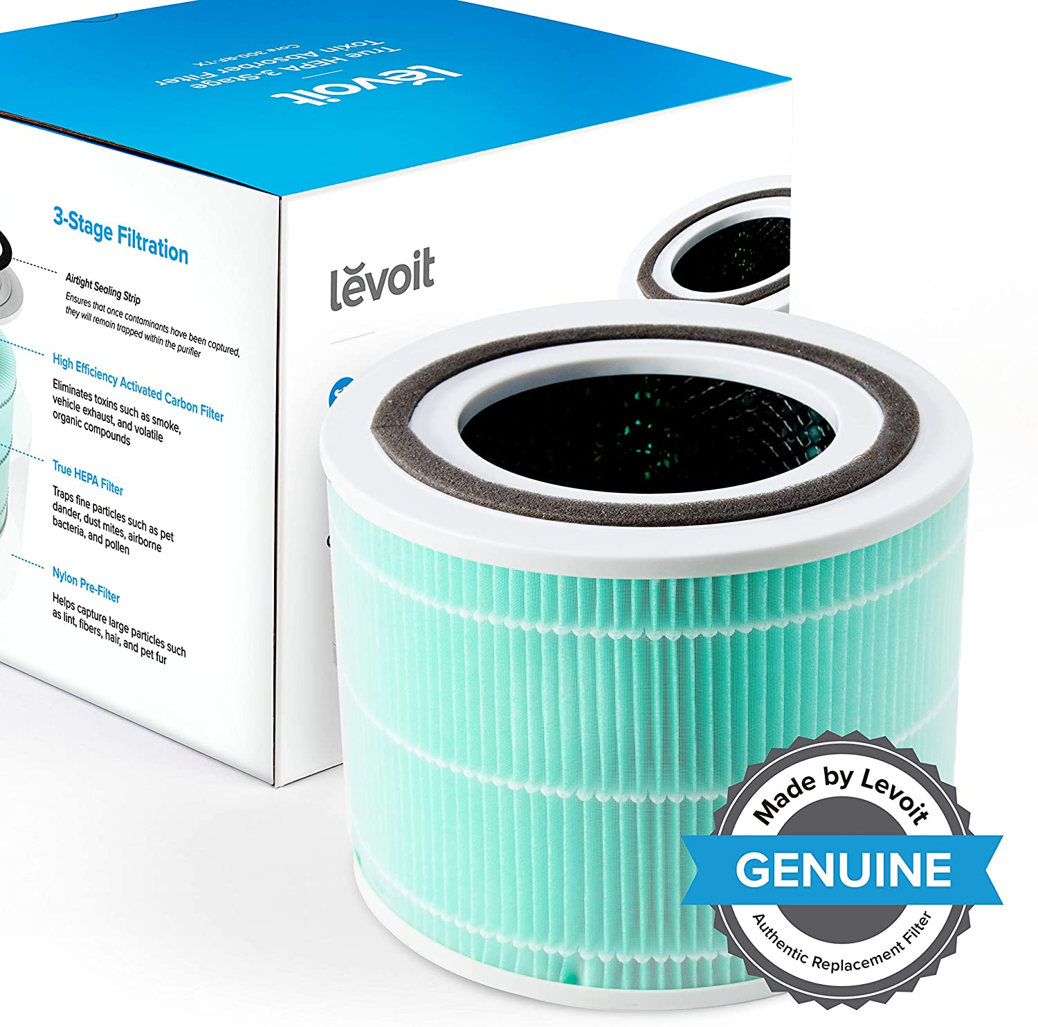 LEVOIT Core 300 Air Purifier Replacement Filter, 3-in-1 Pre-Filter, True HEPA Filter, High-Efficiency Activated Carbon Filter, Core 300-RF (Toxin Absorber)
