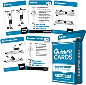 """QuickFit Bodyweight Exercise Cards - Fitness Playing Cards with Over 50 Body Weight Workouts - 2.5"""" x 3.5"""" (Standard Playing Card Size)"""