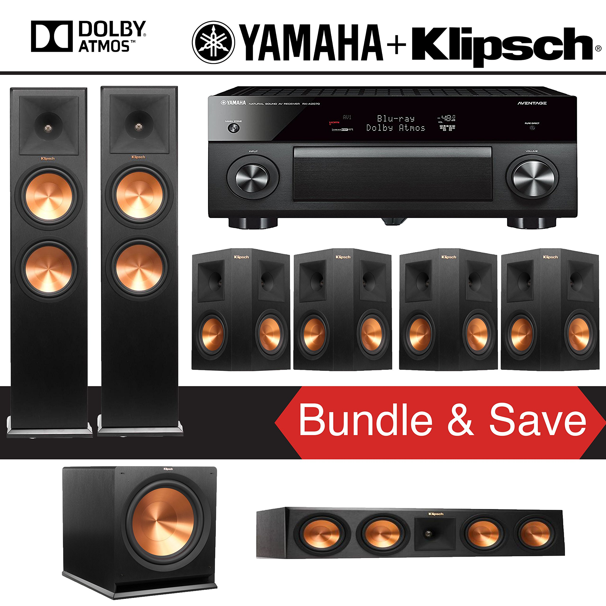Klipsch RP-280FA 7.1-Ch Reference Premiere Dolby Atmos Home Theater System with Yamaha AVENTAGE RX-A2070BL 9.2-Channel Network AV Receiver