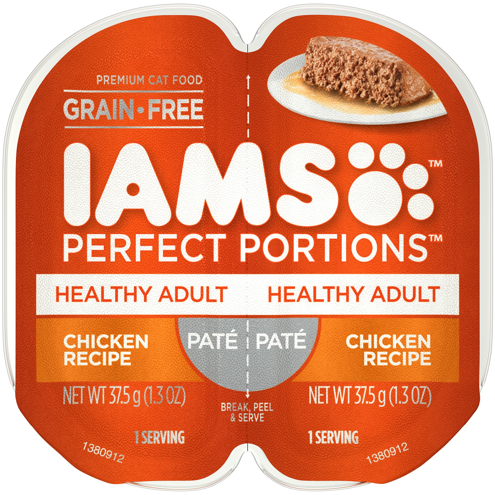 Iams Perfect Portions Grain Free Adult Wet Cat Food Paté Chicken Recipe, (24) 2.6 Oz. Twin-Pack Trays