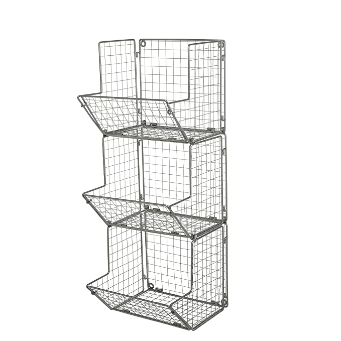 Amazon.com: 3-Tier Gray alambre de metal montado en la pared ...