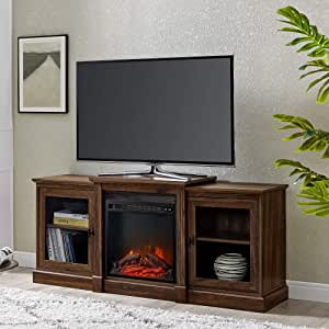 """Walker Edison Furniture Company Modern Wood Fireplace Stand with Cabinet Doors and Drawers 65"""" Flat Screen Universal TV Console Living Room Storage Shelves Entertainment Center, 60 inch, Dark Walnut"""