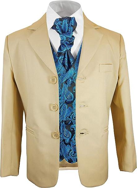 Paul Malone Jungen AnzugKinder Anzug festlich beige Uni +