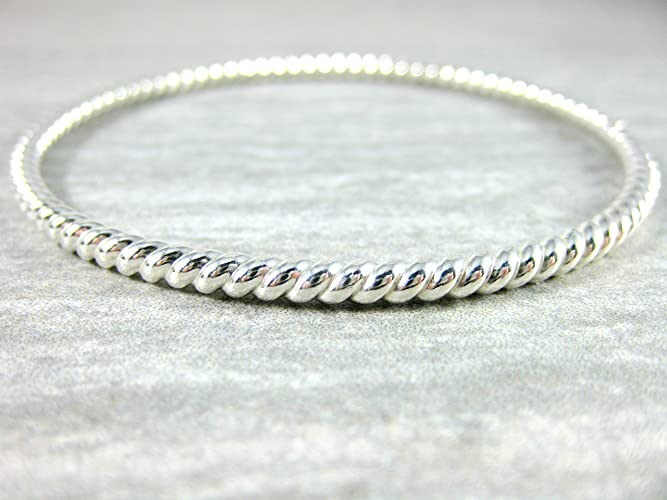 77c3870452a Amazon.com: Heavy Thick Twisted Sterling Silver Bangle Bracelet ...