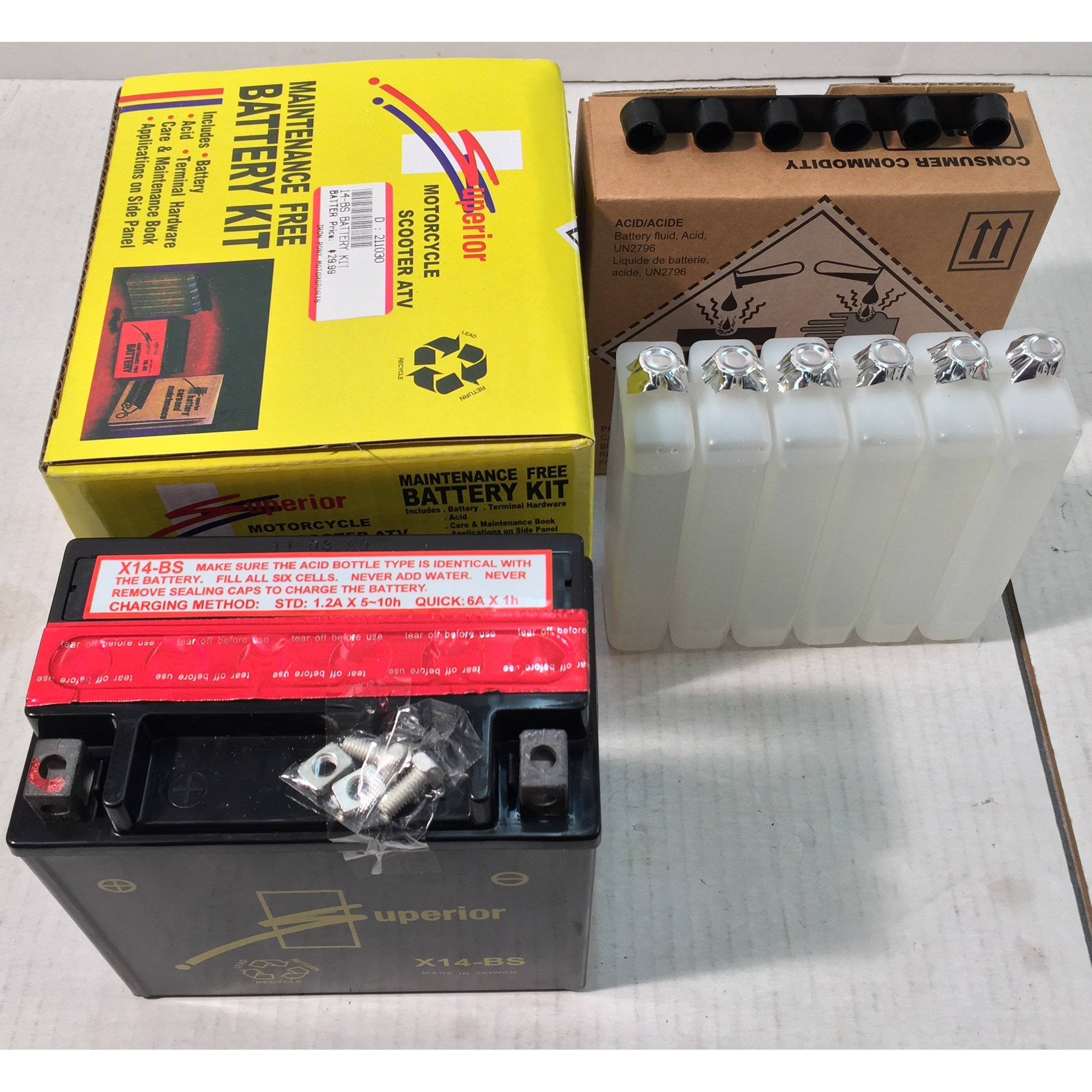 Superior Brand X14BS YTX14BS AGM Maintenance Free Battery Kit by Superior
