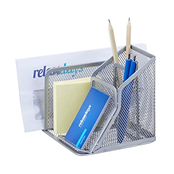 Relaxdays Lapicero con Compartimentos, Metal, Plateado, 6 x 38 x 30 cm: Amazon.es: Hogar