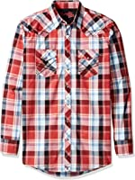 Wrangler Men's Tall Size 20x Long Sleeve Two Pocket Snap Red Woven Shirt