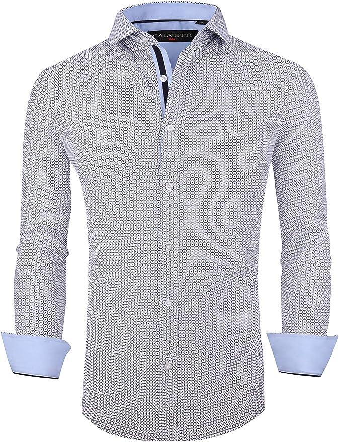 House of Lords Camisa de Vestir para Hombre, sin Arrugas, Corte Regular, Manga Larga, Casual, con Botones