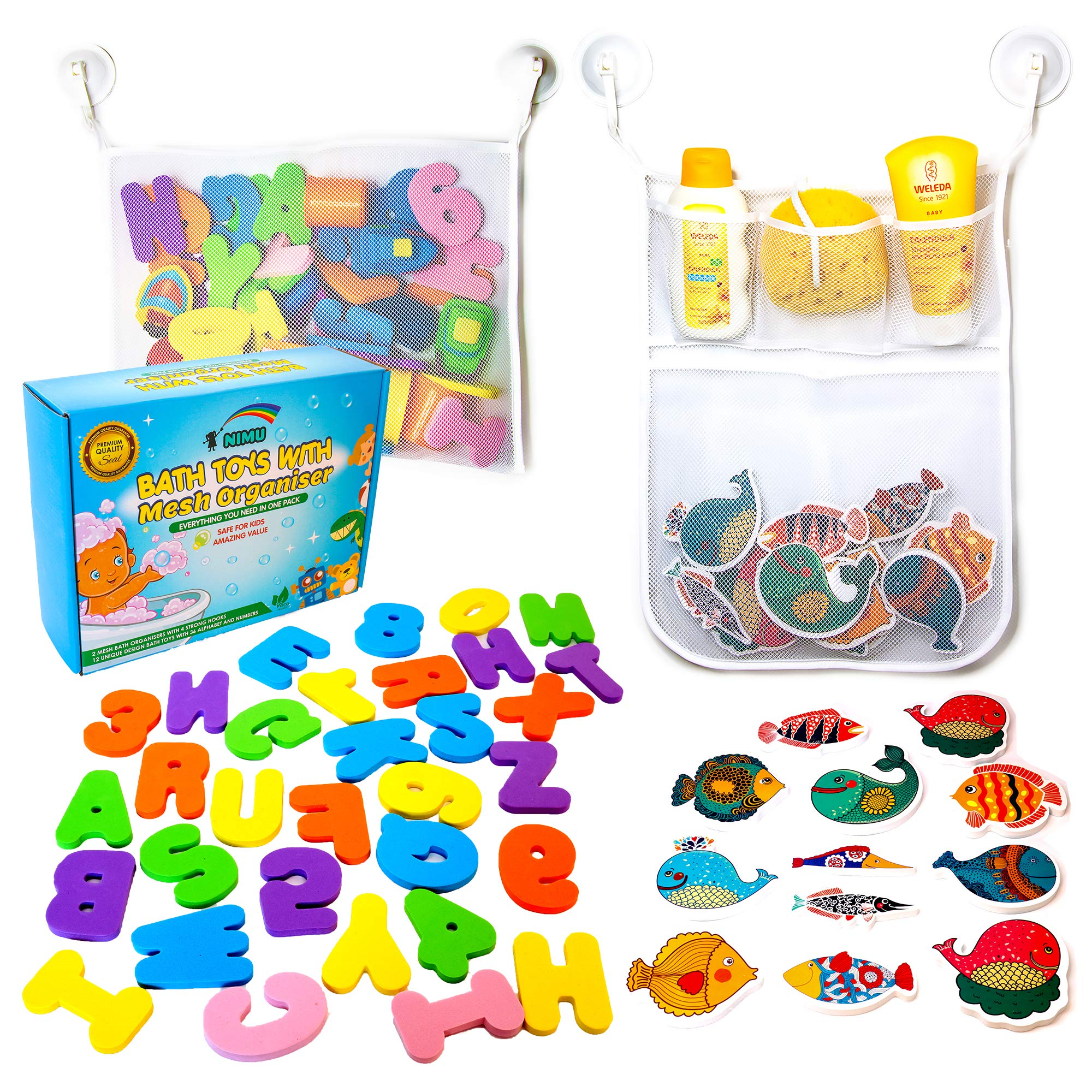 36 Bath Toys Letters and Numbers Toddlers Large Toy Organiser Net Bag for Baby Boys /& Girls and Shower Caddy Bonuses 2 x Mesh Bath Toy Storage 6 Ultra Strong Suction Hooks