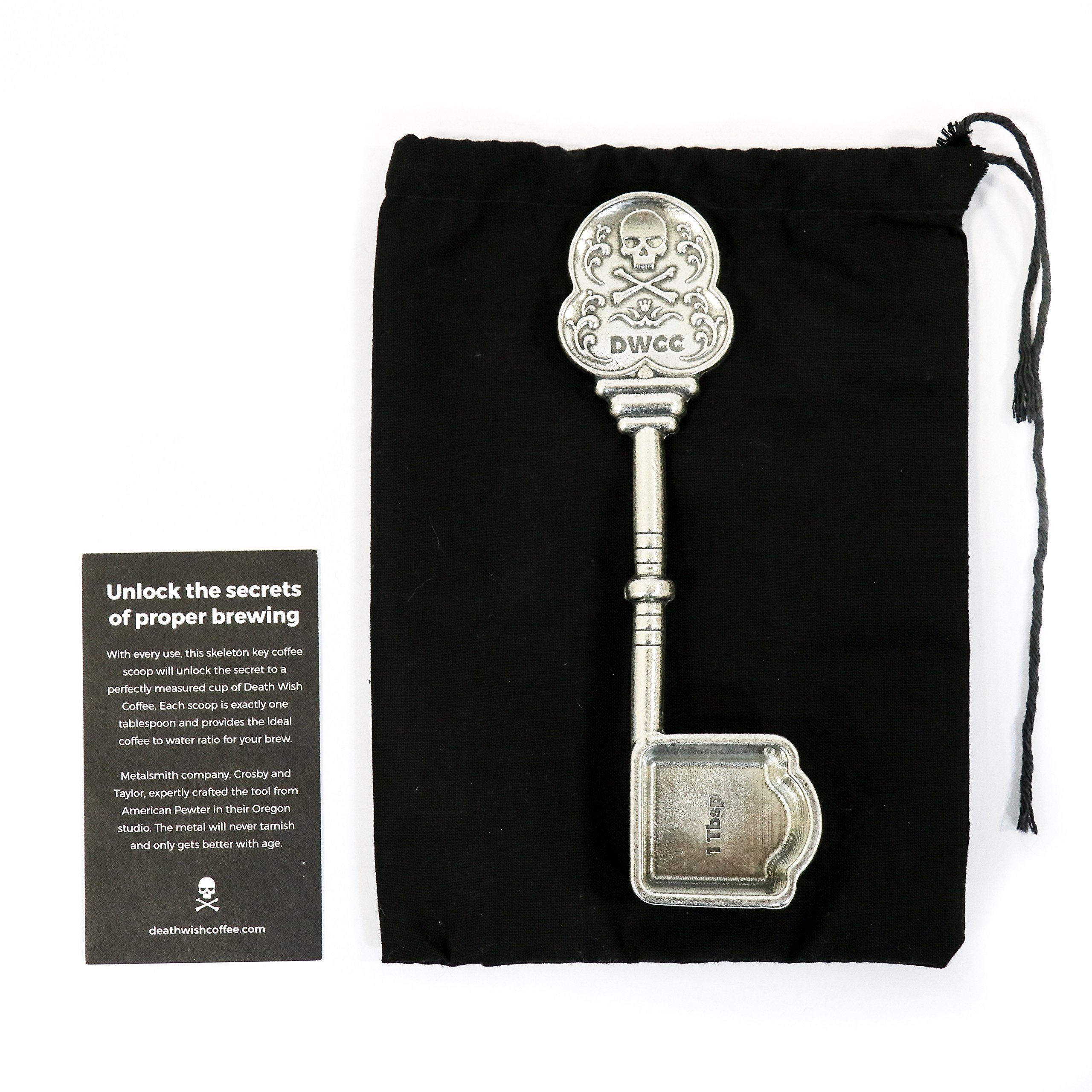 Death Wish Coffee Skeleton Key Spoon - 1 Tablespoon Coffee Scoop - American Pewter Made in the U.S.A