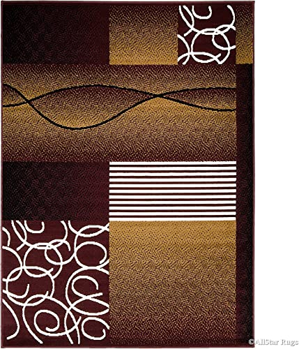 Allstar 8×11 Burgundy Modern and Contemporary Rectangular Accent Rug with Ivory and Espresso Abstract Linear Design 7 6 x 10 5