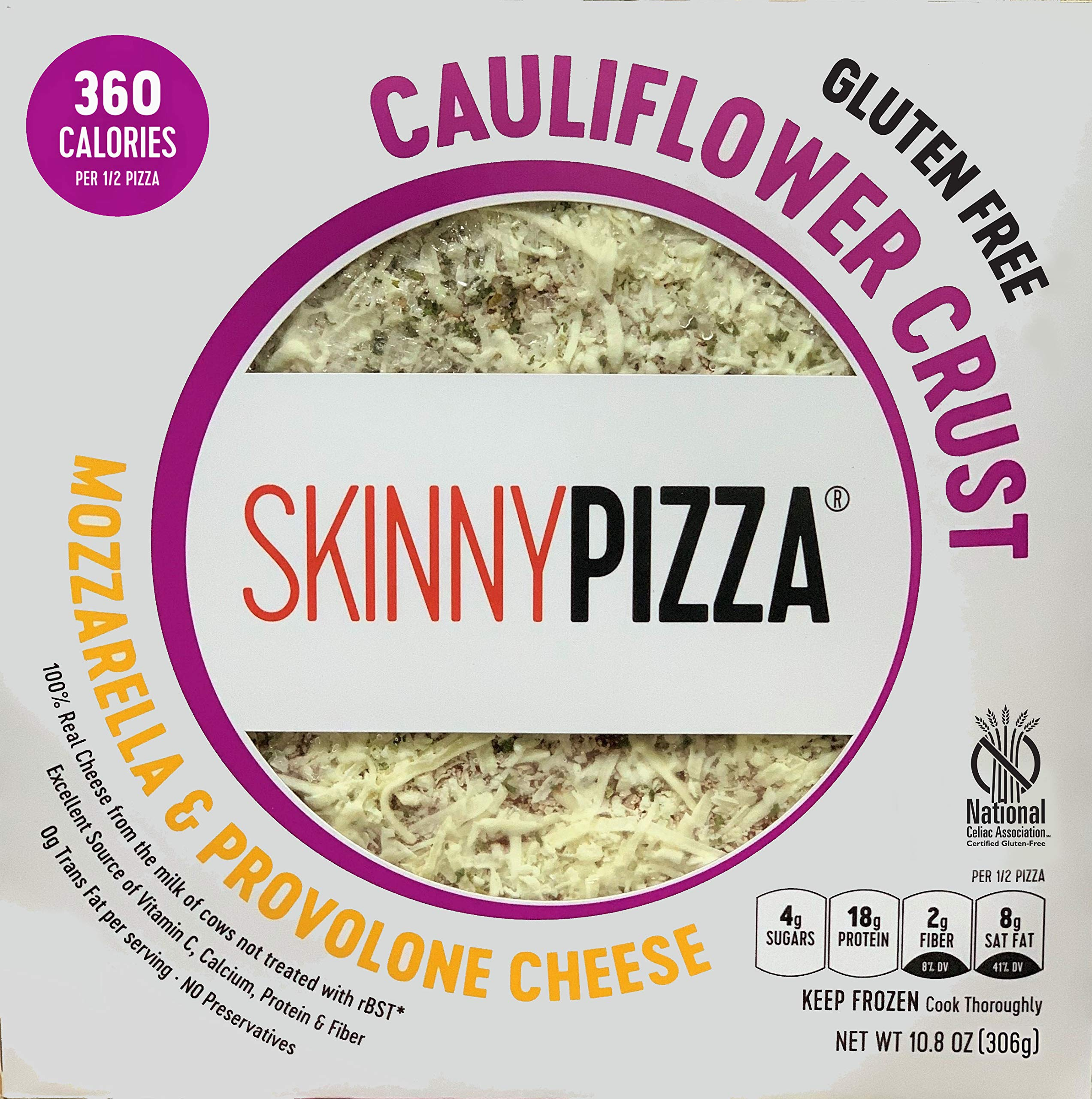 SKINNYPIZZA Cauliflower Crust Cheese Pizza Frozen (4 Pack) by SkinnyPizza