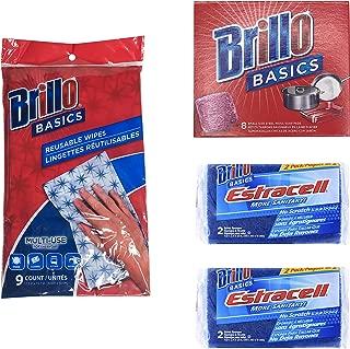 product image for Brillo Basics Steel-Wool Soap Pads, 8-ct. Box (Including Brillo Estracelll Sponges No Scratch Scrub 4 Ct & Brillo Basics Reusable Multi-Purpose Multi-Surface Wipes 9 Ct)