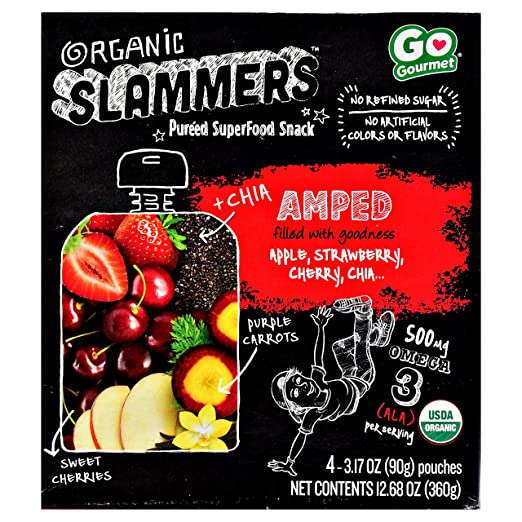 Organic Slammers Pureed SuperFood Snack AMPED Filled With Goodness Apple, Strawberry, Cherry,Chia. (1-BOX) (4-3.17 OZ POUCHES)
