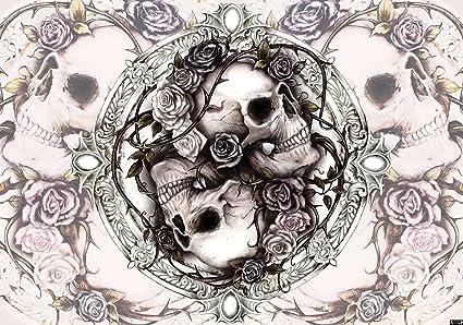 Skulls And Roses Wallpaper Mural Amazoncouk Diy Tools